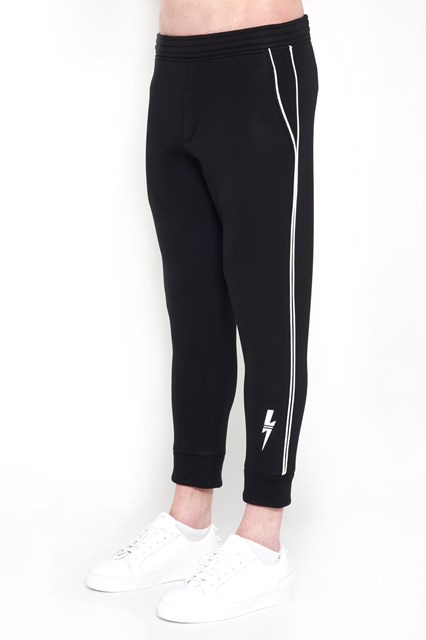 NEIL BARRETT jersey  jogging trousers  with stretch cotton hem and white flash print