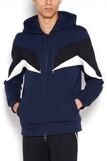 NEIL BARRETT hoodie with zip closure and flash print