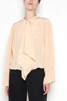 CHLOÉ oversize shirt with bell bottom sleeves with scarf and waist elastic band