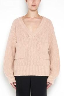 CHLOÉ oversize pullover with v-neck and chuncky stitch pockets on front