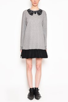 REDVALENTINO Cotton long sweater with tulle and velvet collar