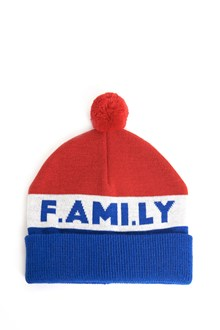 AMI wool beanie with pom pom and 'family'embroidery