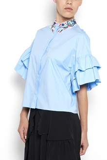 VIVETTA ' Nicosia' popeline shirt  with embroidered neck and  flounces on sleeves