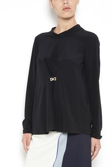SALVATORE FERRAGAMO Long sleeves silk shirt with logo on front