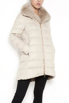 HERNO padded long jacket with detachable fur on neck and zip closure, lined in goose feathers