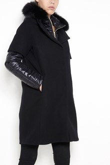 HERNO wool padded long coat with buttons closure , pockets  and hood