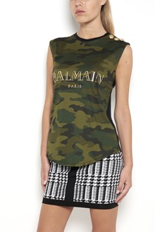 BALMAIN sleeveless camouflage t-shirt with logo printed and gold buttons on shoulder