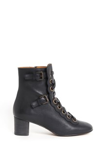 CHLOÉ calf leather laced boots with inside zip closure