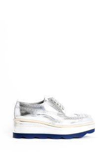 PRADA calf leather  laced sneaker with wave platform