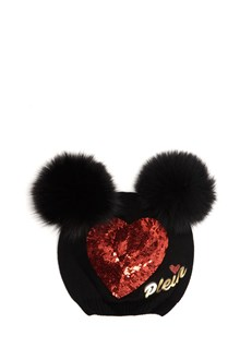 PHILIPP PLEIN JUNIOR 'Hatty'  wool beanie with furry ears