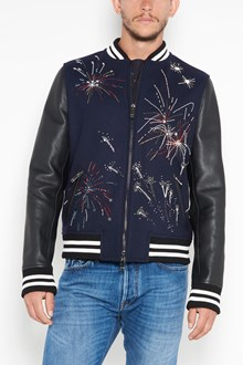 VALENTINO Wool bomber with fireworks print and leather sleeves