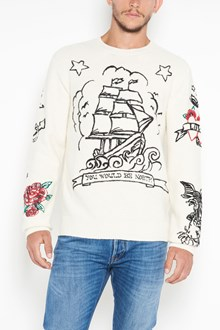 VALENTINO 'Tattoo' embroidered crew-neck wool sweater
