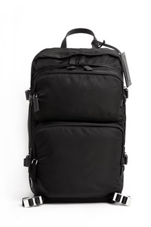 PRADA Technical fabric backpack with many compartments and leather details
