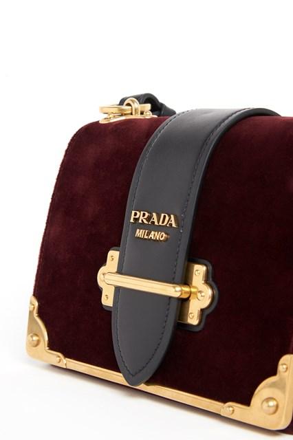PRADA 'Cahier' velvet and leather shoulder bag