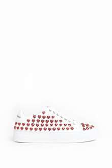 PHILIPP PLEIN Calf leather low top sneaker with heart applications all over