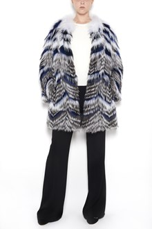 YVES SALOMON multicolor  fox fur  on jersey shearling with hood  and button closure
