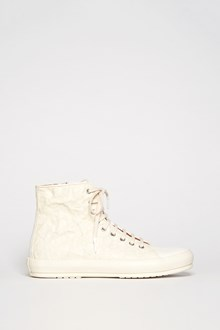 BOTH Leather & Rubber crinkled high top sneakers with zipper and laces