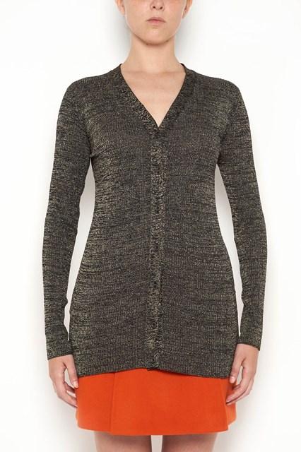 PRADA lurex cardigan with v neck and buttons closure