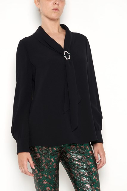 PRADA Satin long sleeves shirt with Jewel Sablè bow