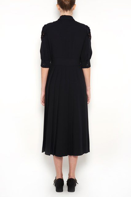 PRADA Short sleeves satin dress with embroidery and pearls