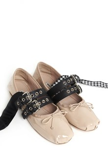 MIU MIU Ballet shoes with buckles, laces and bow