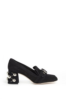 MIU MIU Leather suede mocassin with ruffles and embellished studs