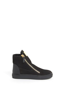 GIUSEPPE JUNIOR Leather ankle boot with zipper and gold logo