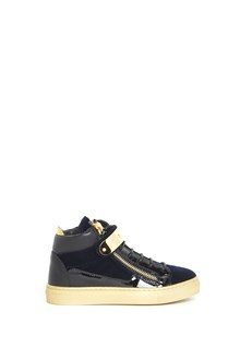 GIUSEPPE JUNIOR Leather hi-top 'Coby Junior Veronica' sneaker with gold closure