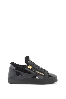 GIUSEPPE ZANOTTI DESIGN Patent leather sneakers with fur