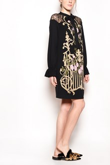 ALBERTA FERRETTI 'Gate' embroidered dress with long sleeves and collar bow