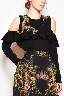 ALBERTA FERRETTI Crew-neck embroidered jersey with open shoulders and ruffle