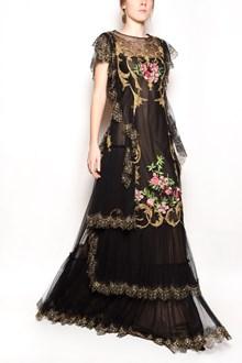 ALBERTA FERRETTI Embroidered silk tulle long dress with silk petticoat