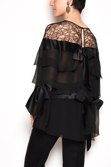 ALBERTA FERRETTI Chiffon and lace blouse with layers and bows