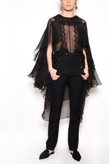 ALBERTA FERRETTI Silk chiffon high low blouse