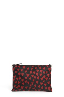 REDVALENTINO Nylon'Heart' printed clutch with leather strap with star studs