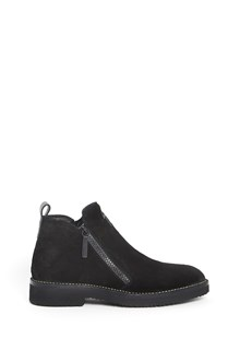 GIUSEPPE ZANOTTI DESIGN Leather velour ankle boot with double zipper and logo