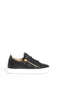 GIUSEPPE ZANOTTI DESIGN Leather low top sneaker with lateral zippers