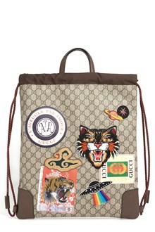 GUCCI 'Drawstring' backpack with GG print with patch