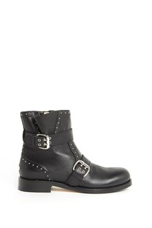 JIMMY CHOO Leather 'Blyss' ankle biker boot with studs and straps