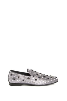 JIMMY CHOO Leather glittered 'Sloane' mocassin with black stars and sparkles