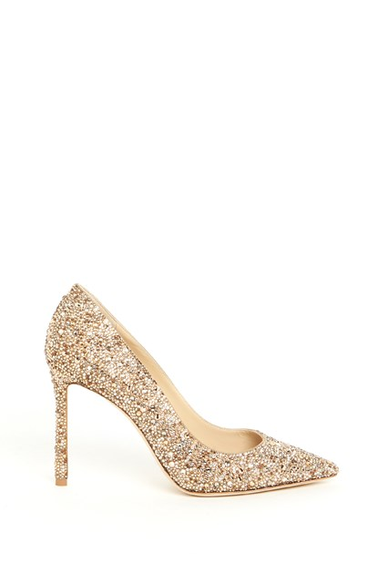 JIMMY CHOO Leather crystal 'Romy' hot fix pumps with pointed toe