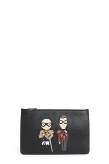DOLCE & GABBANA calf leather zipped clutch with stylists patch