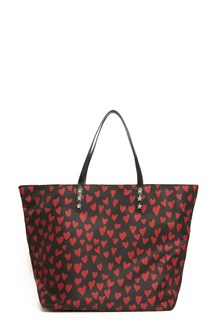 REDVALENTINO Nylon shopper with red hearts print and leather handle with star studs