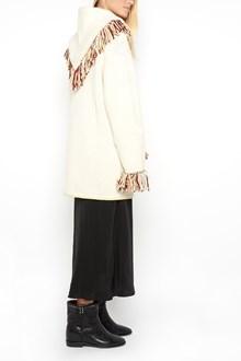 ALANUI Oversized jaquard fringed  cardigan with  handmade embroidery and hood