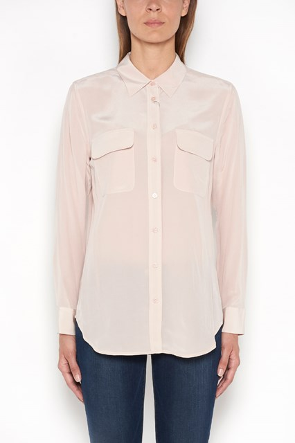 EQUIPMENT slim signature silk  shirt with  double breast  pockets