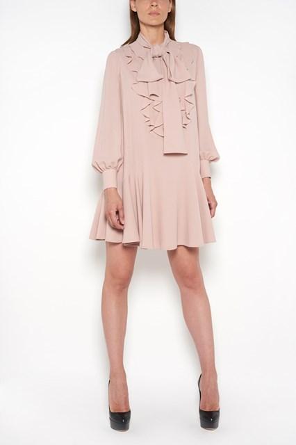 ALEXANDER MCQUEEN Heavy georgette silk wide dress with rouched   neckline