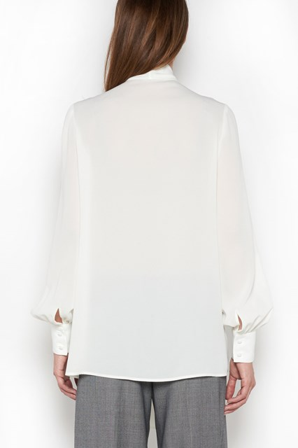 ALEXANDER MCQUEEN Silk blouse in heavy georgette with long sleeves and ruffles