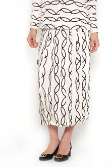 TORY BURCH Silk 'Hallie' plissè skirt with 'Elliptical link'  print
