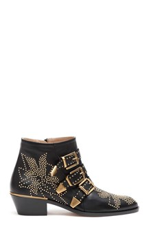 CHLOÉ 'Susanna' leather bootie with mini studs and buckles