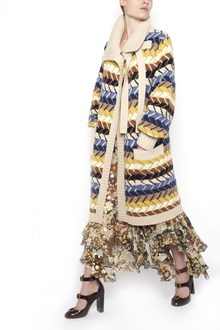 CHLOÉ Multicolor  braided wool cardigan with waist band